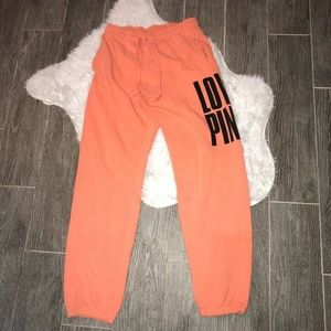 Victorias Secret Pink Womens Joggers Orange Pocket